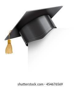 Graduation cap or mortar board on paper corner. Education design element isolated on white background. 3D illustration