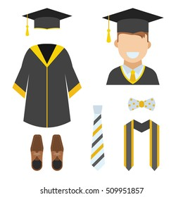 Graduation ceremony clothes and accessories set. Bachelor gown, tie, ribbon, shoes, bow-tie and hat with happy graduate guy vector icon isolated on white.