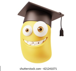 Graduation Emoji Cartoon. 3d Rendering.
