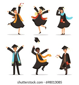 Graduation of happy students at different nations. illustration of university lifestyle. Student university, graduation and education, young character successful students