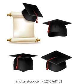 graduation hat, academic cap with diploma