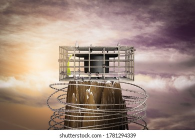Graduation hat in a cage on the top of a mountain at sunset magenta day. Graduation hat is prisoner in metal cage or No freedom for Congratulates concept . 3D illustration