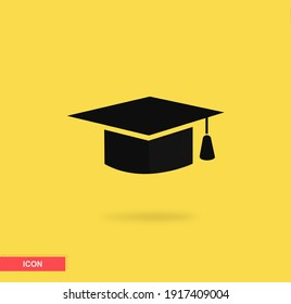 Graduation hat icon in trendy flat style isolated on yellow background