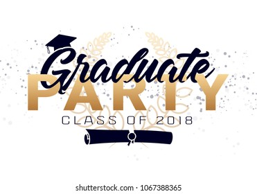 Graduation label.  text for graduation design, congratulation event, party, high school or college graduate. Lettering Class of 2018 for greeting, invitation card