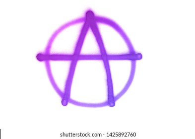 Graffiti Anarchy sign sprayed on white isolated background. Symbol painted in street art tag style in trendy colors