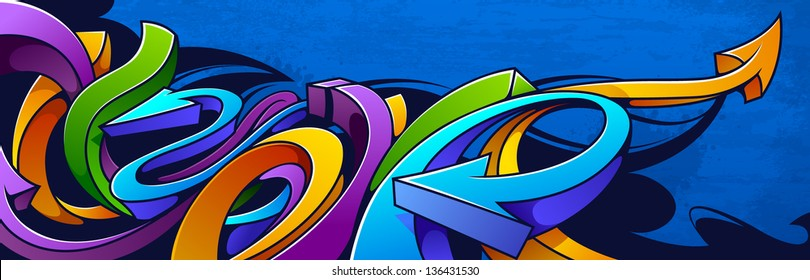 Graffiti background. Horizontal graffiti banner.