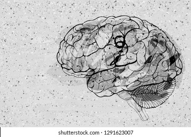 Graffiti grungy style human brain on concrete wall surface