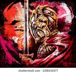 Graffiti on the brick wall of the knight, praying holding a sword