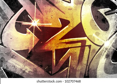 Graffiti over old dirty wall, urban hip hop background Gray texture painted with bright colorful