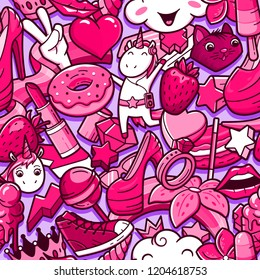 Graffiti seamless pattern with girlish style doodles. Background with childish girl power crazy elements. Trendy linear style collage with bizarre street art icons.