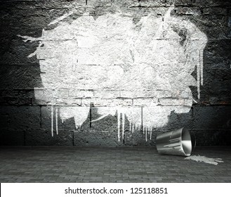 Graffiti wall with frame, street art background
