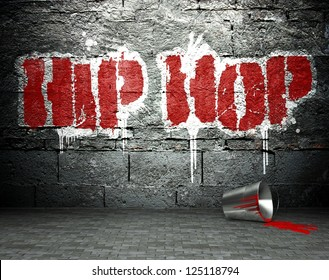 Graffiti wall with hip hop, street art background