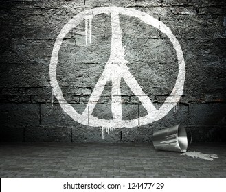Graffiti wall with peace sign, street art background