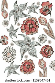 Grafic decorative composition flowers. Monochrome palette. Fabulous flowers. Poppies, tulips, chamomile.
