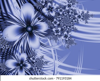 Grafic design for business cards. Fractal image_ template for inserting text. Blue fractal flower, digital artwork for creative graphic design. Floral template with place for text in blue color.