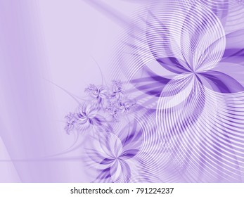 Grafic design for business cards. Fractal image_ template for inserting text. Purple fractal flower, digital artwork for creative graphic design. Floral template with place for text.