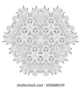 Grafic round lace pattern, doodle ornament, round lace pattern. Raster version