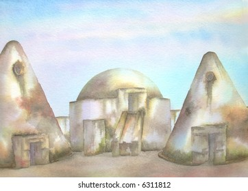 "Grain Silos, of the Old Mexican Hacienda Jaral del Berrio, Guanajuato, Mexico # 97-001; 28x43 cm. = 11""x17"""