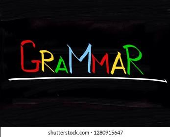 Grammar handwritten on Blackboard