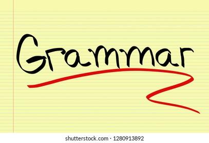 Grammar handwritten on notebook