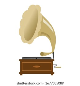 Gramophone icon on the white background.
