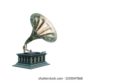gramophone phonograph turntable on yellow background, 3d render