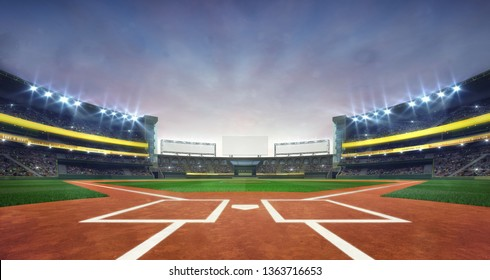 grand baseball stadium field diamond daylight view, modern public sport building 3D render background
