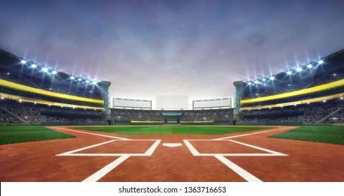 現代の公共スポーツビル3Dレンダリング背景に、グランド野球場のフィールドのダイヤモンドデイライトビュー