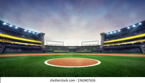 Grand baseball stadium field spot daylight view, modern public sport building 3D render background