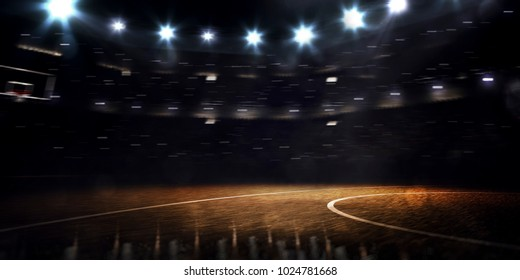 Grand basketball arena in the dark 3drender
