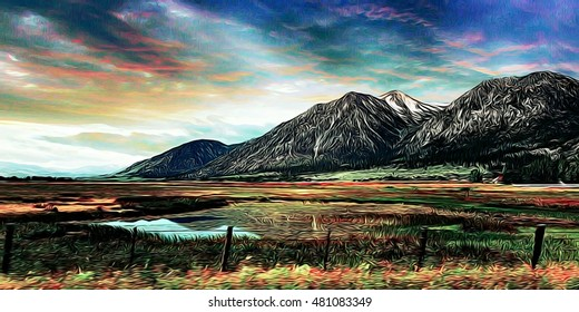 Grand and bold image of Sierra Nevada mountain range in Gardnerville Nevada.   Colorful and majestic fields surround a glassy pond under waves of sunset colored skies