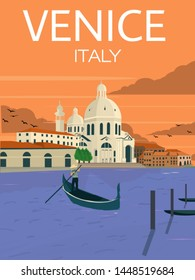 grand canal Venice Italy . poster or postcard travel template ,vintage style
