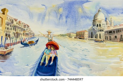 Grand Canal in Venice, Italy. Santa Maria della Salute church. Gondolas are the travel romantic in grand channel Venice. Watercolor landscape original paintings illustration, landmark of the world.