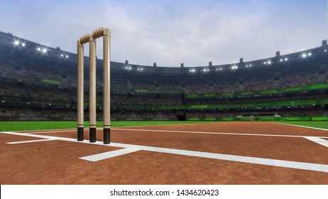 Grand cricket stadium with...wickets front day view, modern public sport building 3D render series