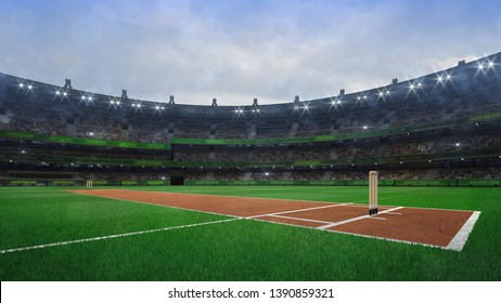 Grand cricket stadium with wooden wickets diagonal view in daylight, modern public sport building 3D render series