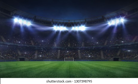 grand football stadium illuminated by spotlights and empty green grass playground, football stadium sport theme digital 3D background advertisement illustration my own design