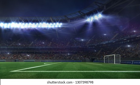 grand football stadium illuminated by spotlights and empty green grass field, football stadium sport theme digital 3D background advertisement illustration my own design
