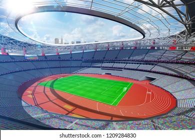 Grand multisport arena sunny day background 3d render
