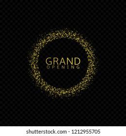 Grand opening. Golden confetti label, Raster illustration