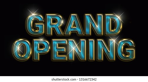 GRAND OPENING - Luxurious, gold and blue style banner design with bold letters on a black background