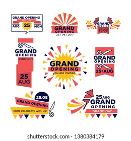 Grand opening ribbon band  icons for celebration or open shopping