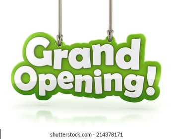 Grand Opening text isolated hanging on white background with clipping path