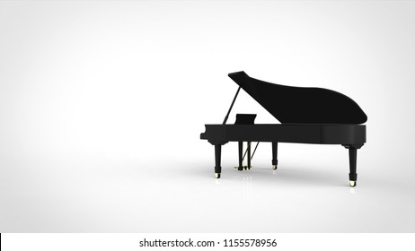 grand piano back with copy space 3d rendering