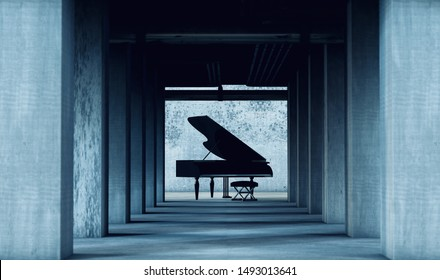 Grand piano in cement and concrete interior architecture. Art and musical instruments.Musical background.Piano music concept.3d illustration