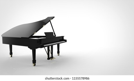 grand piano with copy space 3d rendering