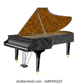 Grand piano isolated on white background. 3 d-Illustration