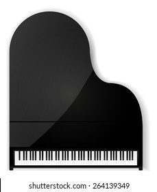 Grand piano. Isolated on white background. Raster version