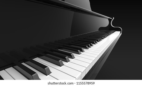 grand piano keyboard 3d rendering