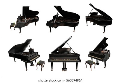 grand piano old 3d rendering