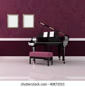 grand piano in purple luxury interior - rendering